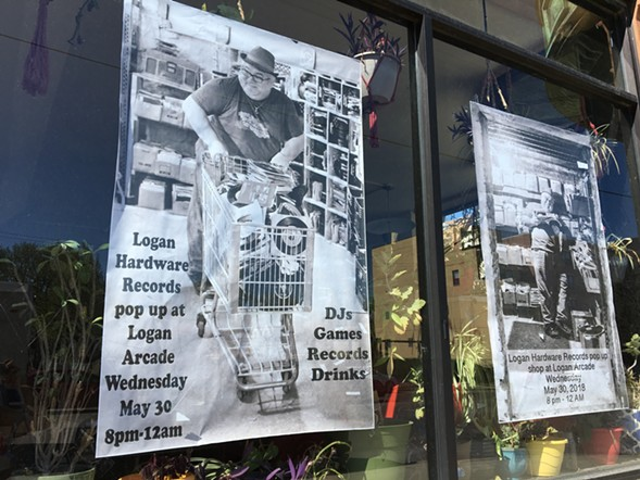 Promotional posters for Logan Hardware's upcoming pop-up shop at Logan Arcade featuring shop employee and DJ Jivan Ivan. - LEOR GALIL