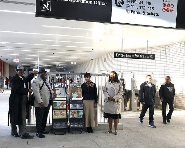 Jehovah's Witnesses at the 95th/Dan Ryan Red Line station - JOHN GREENFIELD