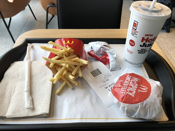 The meal itself is standard McDonald's.