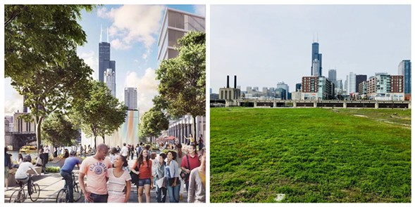 Left: artist's depiction of what the 78 might look like; right: Rezkoville currently - RELATED MIDWEST/RYAN SMITH