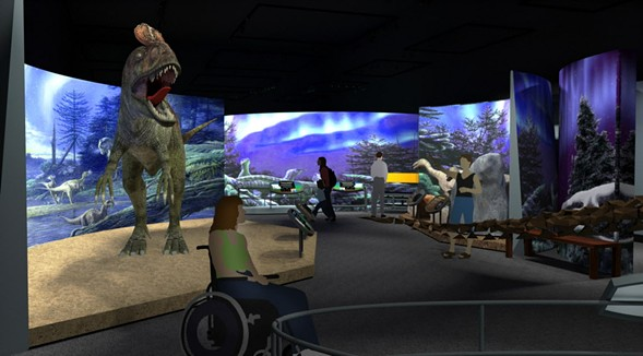"A mock-up of the Antarctic Dinosaurs exhibit includes the Cryolophosaurus AKA ""Elvisaurus"" - FIELD MUSEUM"
