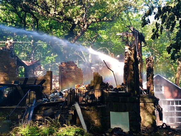 A historic home in unincorporated Riverside burned to the ground Thursday morning. - KEN CIRCO