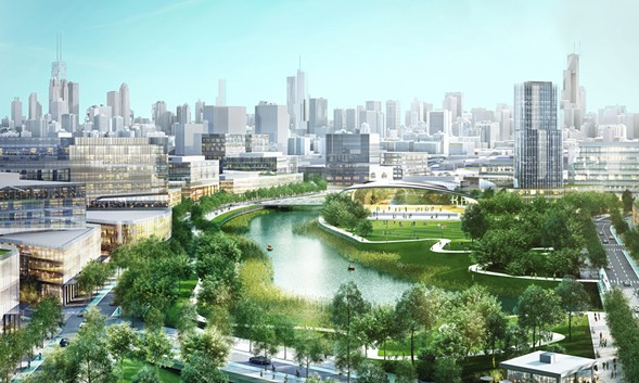 Sterling Bay's proposed $5 billion redevelopment of roughly 70 acres along the Chicago River between North and Webster - STERLING BAY