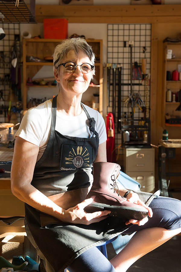Sara McIntosh, founder of the Chicago School of Shoemaking, at her Ravenswood studio and school. - JAMIE RAMSAY