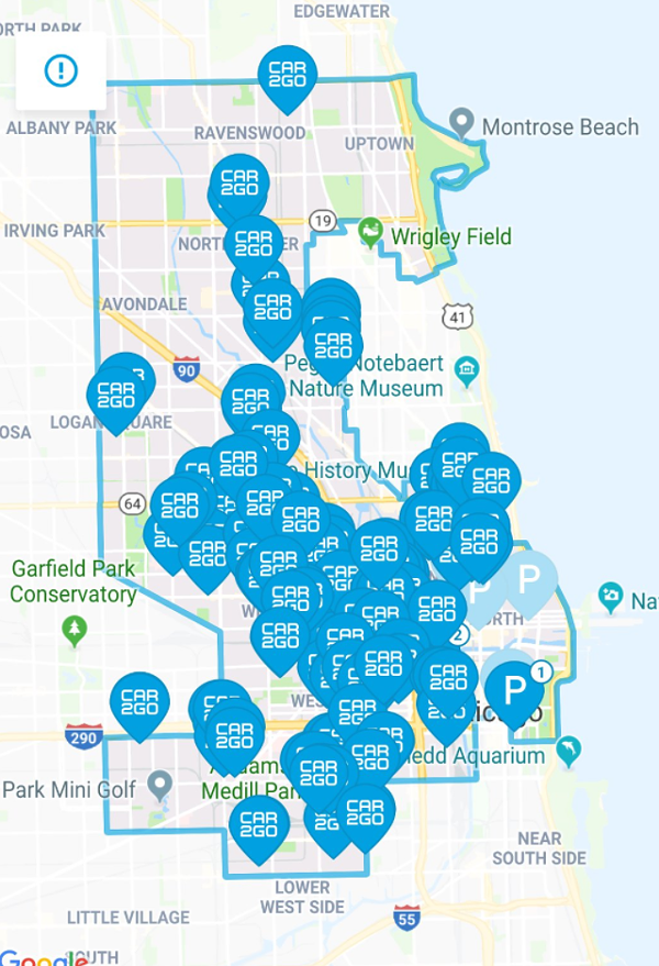 The convoluted Car2go coverage area as it appeared in the app Wednesday morning. - COLIN MURPHY