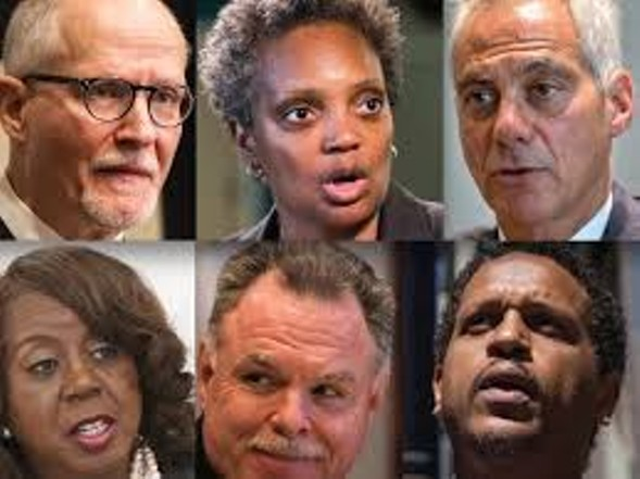 The mayor and some of his challengers: (top) Paul Vallas and Lori Lightfoot; (bottom) Dorothy Brown, Garry McCarthy, and Troy LaRaviere - CHICAGO SUN-TIMES