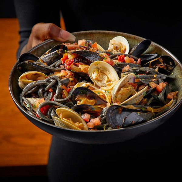 Squid ink chitarra with seafood - NEIL BURGER PHOTOGRAPHY