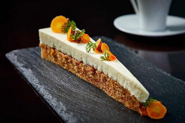 Carrot cake with sage-infused pastry cream. - NEIL BURGER PHOTOGRAPHY