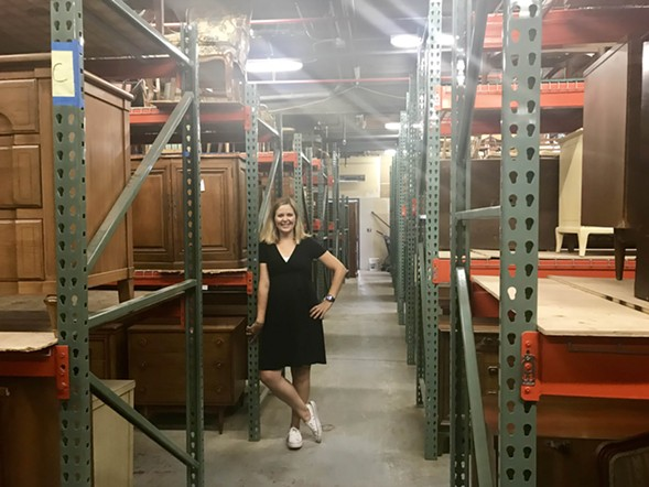 Meg Piercy  in the storage room at the new facility - ISA GIALLORENZO