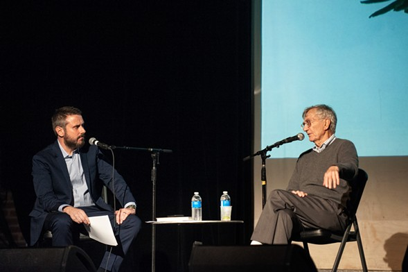 Jeremy Scahill interviews Sy Hersh at an Intercepted live show in Brooklyn in June. - KHOLOOD EID FOR THE INTERCEPT