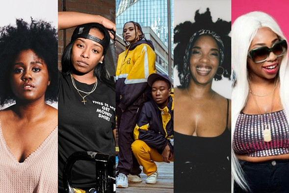 Left to right: Akenya, Chimeka, Klevah and T.R.U.T.H. of Mother Nature, Psalm One, and Sisi Dior - PHOTOS BY SAMANTHA FUEHRING, OPTIC BRANCH, NICCI BRIANN, SERENE SUPREME, AND 10 PHOTOS