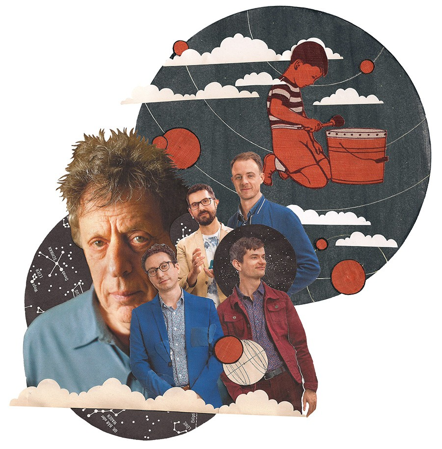 Clockwise from left: Philip Glass and Third Coast Percussion members Peter Martin, David Skidmore, Sean Connors, and Robert Dillon - REBEKKA FEDERLE