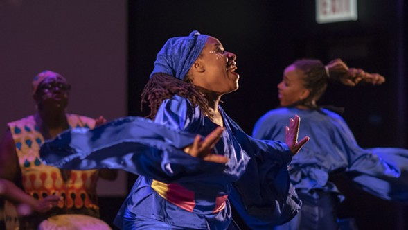 Members of Ayodele Drum & Dance perform at the opening of the Green Line Performing Arts Center on Saturday - ARTS + PUBLIC LIFE, PHOTOGRAPHER: DARIS JASPER