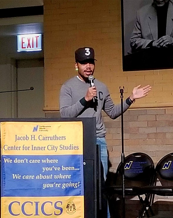 """Chance says his vision for Chicagoist is to """"allow more people to have voices, to give a bigger platform for Chicago voices to speak."""" - KAREN HAWKINS"""