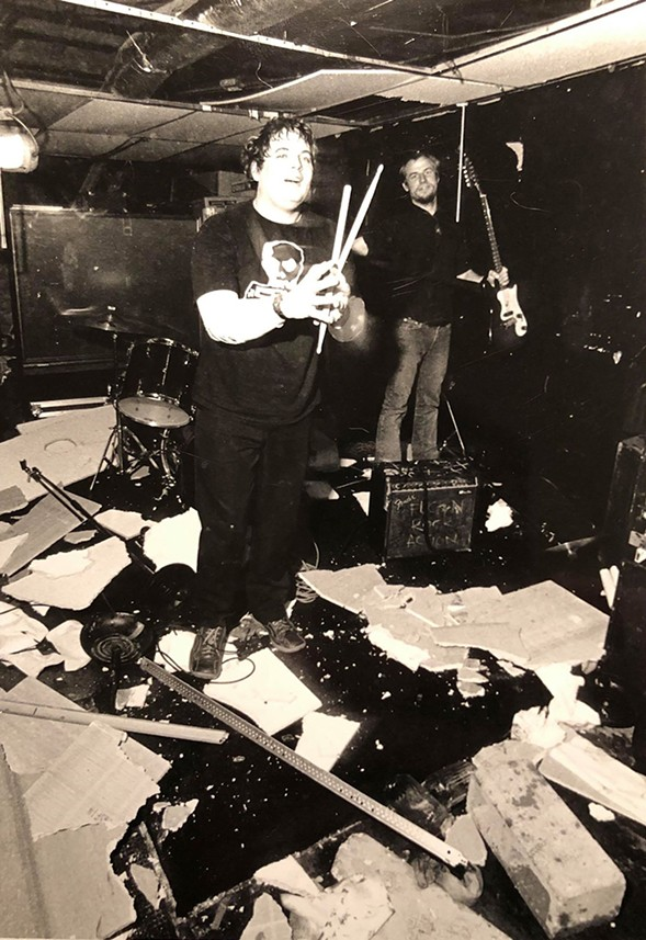 Just another day for the Mutiny's long-suffering ceiling. That's Brian Costello and Chris Ilth of the Functional Blackouts. - ROB KARLIC