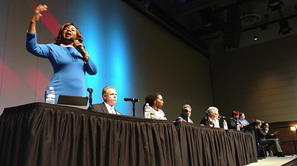 Dorothy Brown (left) speaks at the mayoral candidate forum organized by the Chicago Housing Initiative on December 11, 2018. - MAYA DUKMASOVA