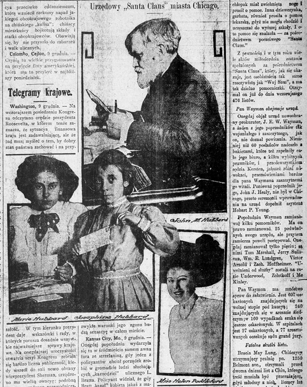 A Polish-language newspaper wrote about  Hubbard, his daughter, and two granddaughters, who helped him sort letters. - DIGITIZATION AND HOSTING BY THE UNIVERSITY OF ILLINOIS AT URBANA-CHAMPAIGN