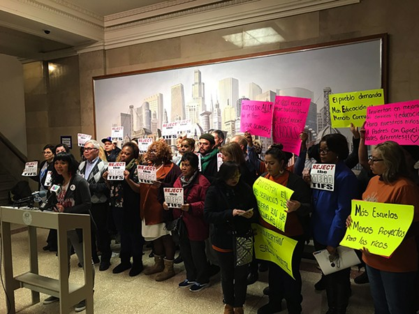 Raise Your Hand Action, a coalition of public school parents, protested TIFs before the Joint Review Board on January 11. - COURTESY RAISE YOUR HAND ACTION