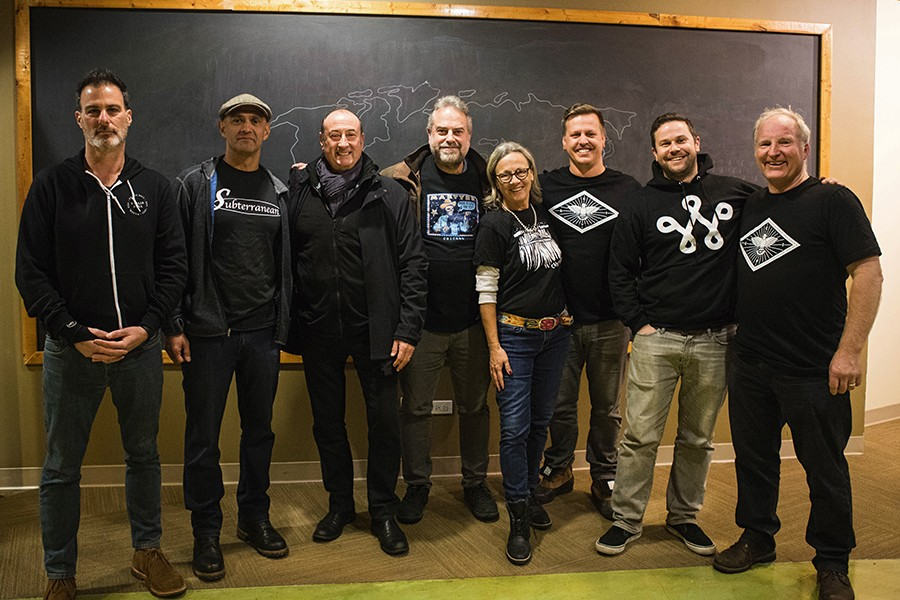 Members of the Chicago Independent Venue League at their November 29 public meeting: Bruce Finkelman (the Empty Bottle, Thalia Hall, the Promontory), Robert Gomez (Subterranean, Beat Kitchen), Joe Shanahan (Metro, Smart Bar, the GMan Tavern), Ray Quinn (Martyrs'), Katie Tuten (the Hideout), Michael Johnston (Schubas, Lincoln Hall), Billy Helmkamp (Sleeping Village, the Whistler), Tim Tuten (the Hideout) - KRIS LORI
