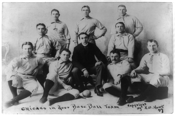This 1897 image is the earliest known photo of an indoor baseball team. - LIBRARY OF CONGRESS