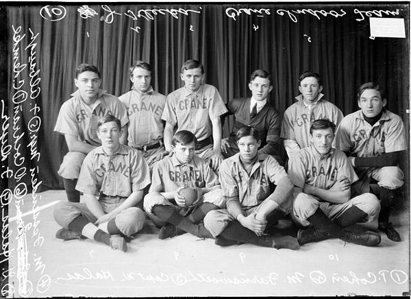 The 1910 Crane High School team; the glum kid holding the ball in the front row is George Halas, the founder of the Chicago Bears.  Above George is his older brother Walter, the captain of the team. - SDN-008471, CHICAGO HISTORY MUSEUM, CHICAGO DAILY NEWS PHOTO COLLECTION