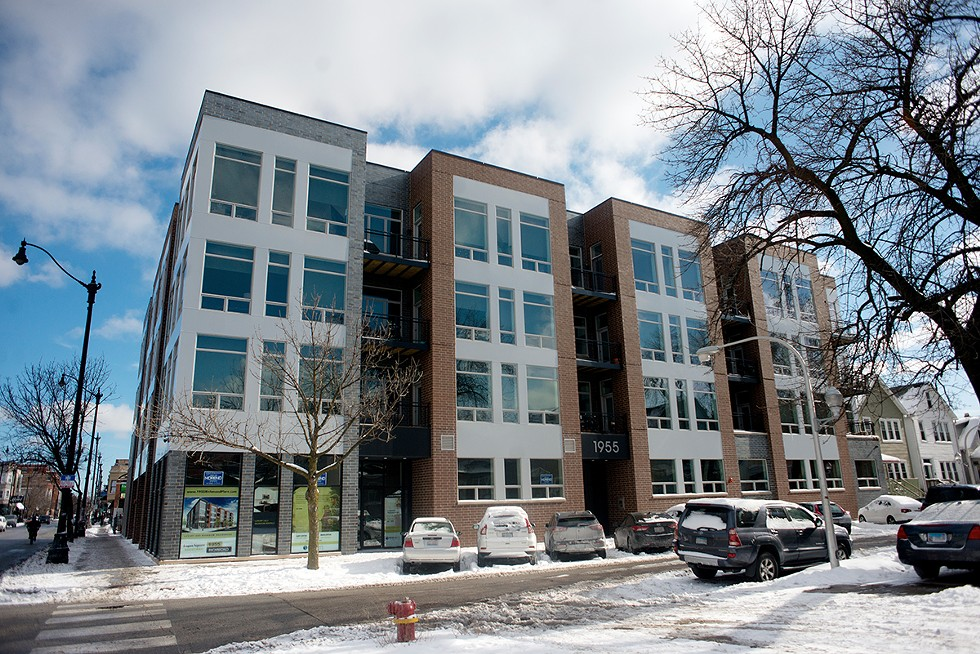"""A newer development on Armitage in the First Ward advertises itself with the slogan """"Logan Square Redefined."""" The building's units start at $1,995 per month for 960 square feet. - KATHLEEN HINKEL"""