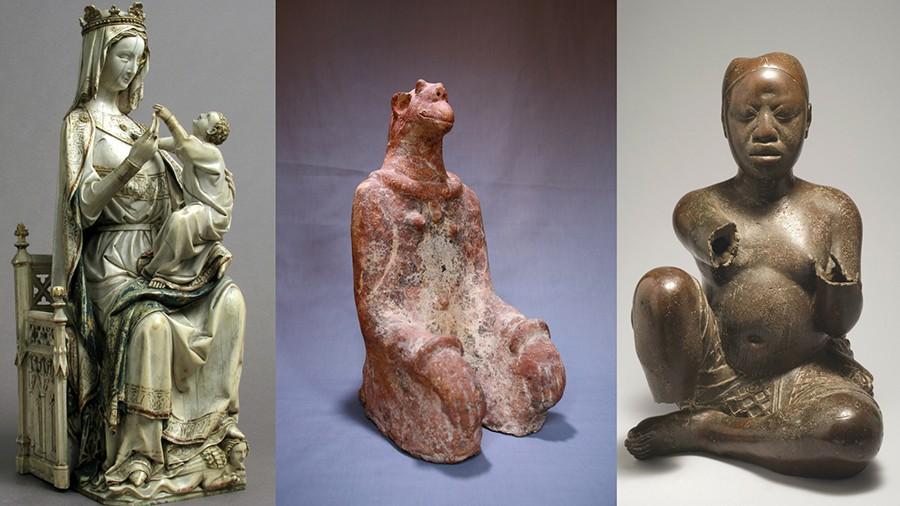 l-r: Virgin and Child (France, ca. 1275-1300), Kneeling Figure (Mali, 12th-14th century), Seated Figure (Nigeria, 13th-14th century) - LINDSAY BOSCH/BLOCK MUSEUM