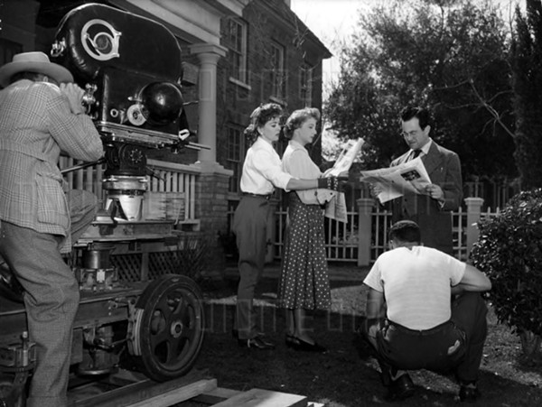 Jerry Hausner, Ida Lupino, and Rita Lupino on the set of Outrage