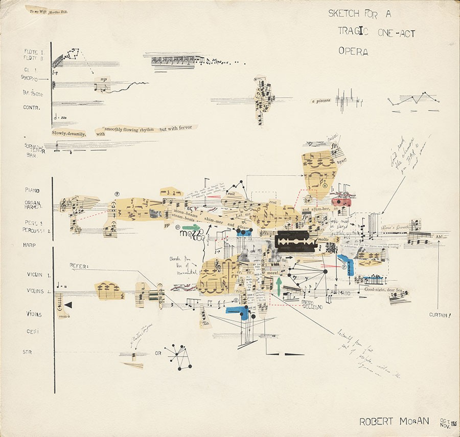 Robert Moran created Sketch for a Tragic One-Act Opera specifically for John Cage's Notations book project. Its nontraditional score includes a razor blade taped to the page. - PUBLISHED BY PERMISSION OF THE COMPOSER