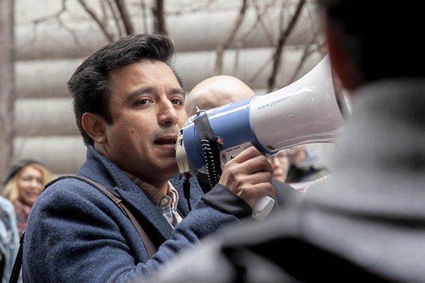 Byron Sigcho-Lopez, alderman-elect of the 25th Ward, at a protest against Lincoln Yards. - CHARLES EDWARD MILLER