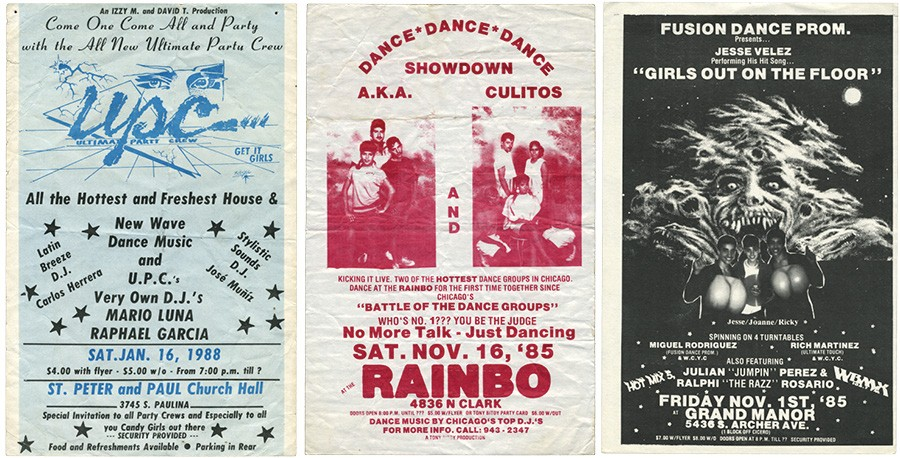 Pluggers from Saints Peter and Paul Church (the first show by the Ultimate Party Crew), Rainbo roller rink, and the Grand Manor (where Rich Martinez and Miguel Rodriguez of Fusion Dance Promotions did a live mix with four turntables) - COURTESY OF ALMIGHTY & INSANE BOOKS