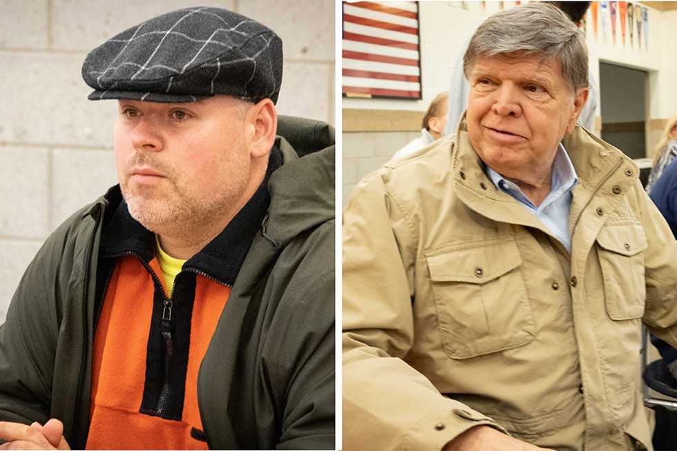 "Ivica ""Otis"" Lazich (left), Lyons deputy director of public works, was a member of the crew former Lyons Mayor Ken Getty (right) organized more than a decade ago to retake the village government. - CASEY TONER/BGA"