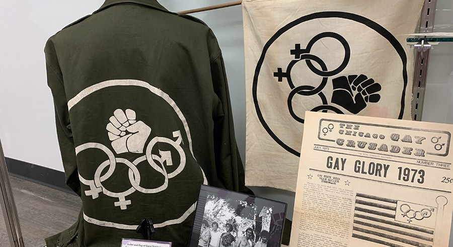 Memorabilia from the early days of the Chicago Gay Alliance on display at Gerber/Hart. - CHASE OLLIS