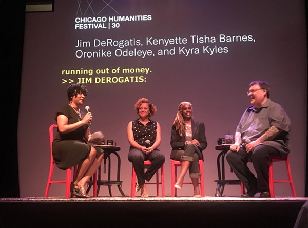 "From left: Kyra Kyles, Oronike Odeleye, Kenyette Barnes, Jim DeRogatis. ""The Case Against R. Kelly: Jim DeRogatis in Conversation,"" presented by the Chicago Humanities Festival, took place at Chop Shop on June 13. - ANDREA MICHELSON"