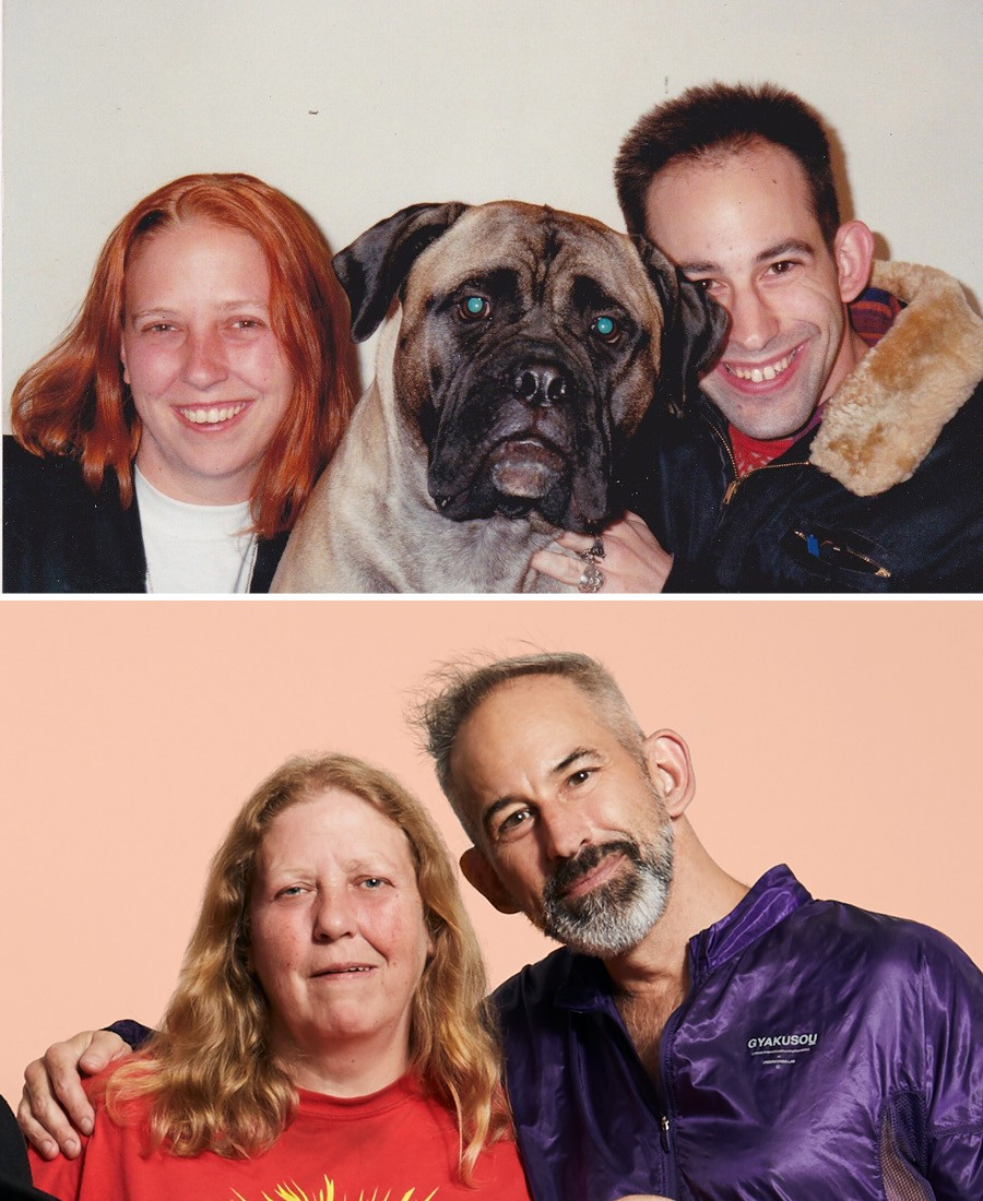 Homocore Chicago founders Joanna Brown and Mark Freitas in the early 90s (with G.B. Jones's dog, Big Ethel) and today - JENA VON BRUCKER; JEREMY HAYES