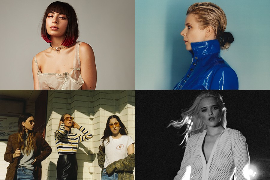 Clockwise from upper left: Charli XCX, Robyn, Sky Ferreira, and Haim - PHOTOS BY MARCUS COOPER AND MARK PECKMEZIAN, COURTESY THE ARTIST, AND COURTESY CHUFF MEDIA