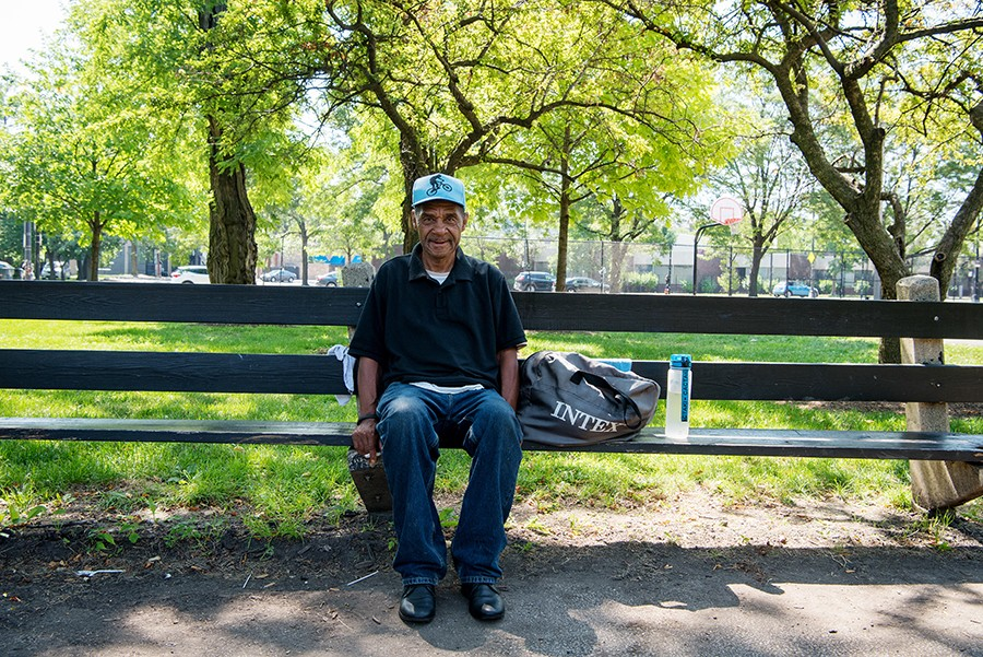 July 13, 2019: James Rogers, 63, sits on a bench in Union Park to pass the time. Rogers was staying at the nearby Pacific Garden Mission while working on finding employment and housing. - KATHLEEN HINKEL