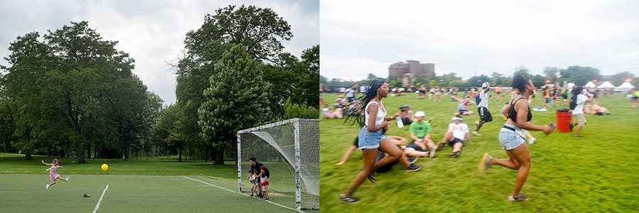 Douglas Park (left) August 13, 2019: Sophie Aleves, seven, takes a shot on goal against her father, Aidan Aleves, 26, and brothers. (right) June 30, 2019: Attendees rush to catch a surprise act during the Lyrical Lemonade Summer Smash. - KATHLEEN HINKEL