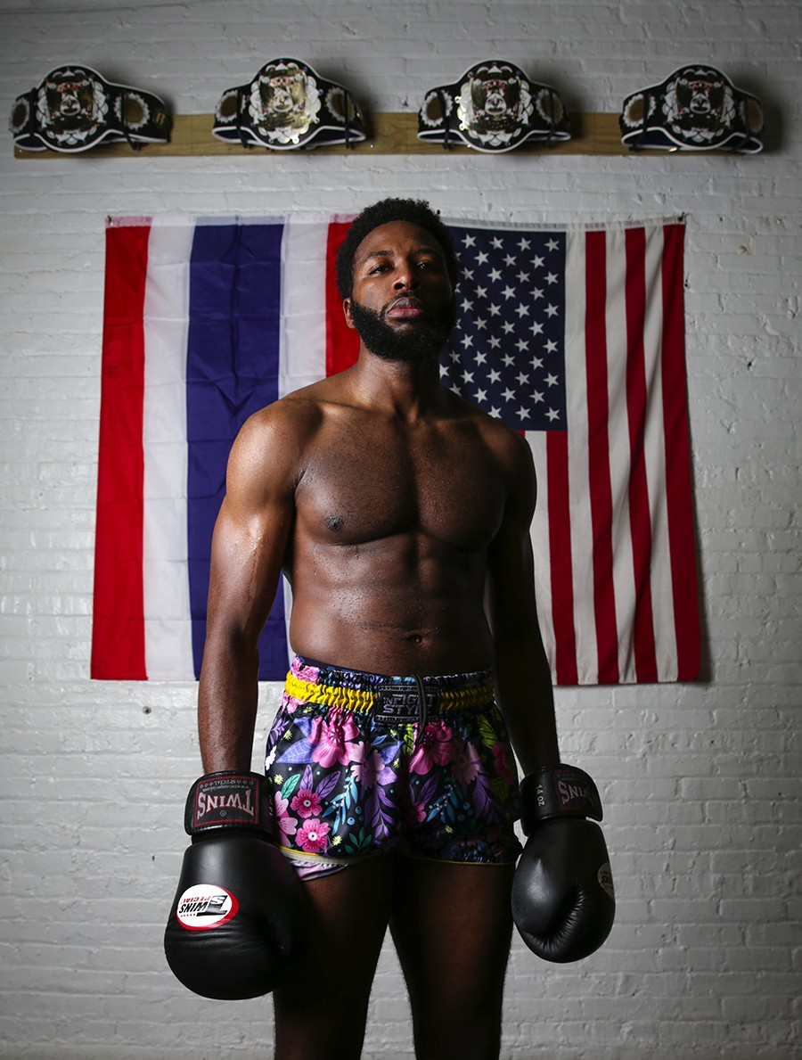 """Jibril Alim, 29, Chicago Muay Thai  - [On training during Ramadan] """"As a Muslim, this year, Ramadan fell during the last few weeks of school for my PhD, and during the preparation for the [National Muay Thai tournament]. I was fasting 18 hours a day— that's no food or water. I was doing two-a-days training and I was studying for school, and that was actually very, very rough. But I think it was really fruitful. It meant a lot when I got done with two-a-days and class. Every time before and after I fought, I would pray, and it meant a lot spiritually knowing what I had to go through to be able to make it there."""" - GEOFF STELLFOX"""