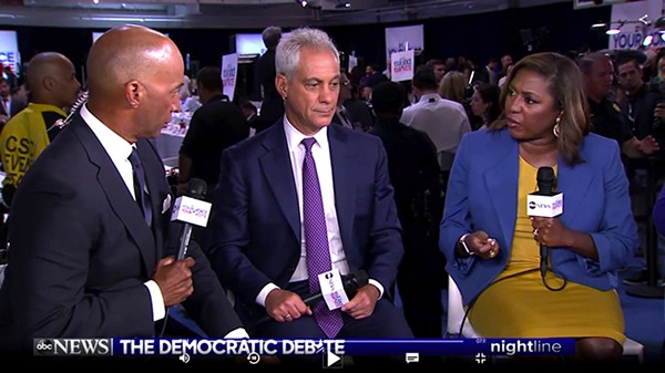 Nightline coanchor Byron Pitts, what are you looking at Rahm?, and Democracy for America chief executive Yvette Simpson - COURTESYABC