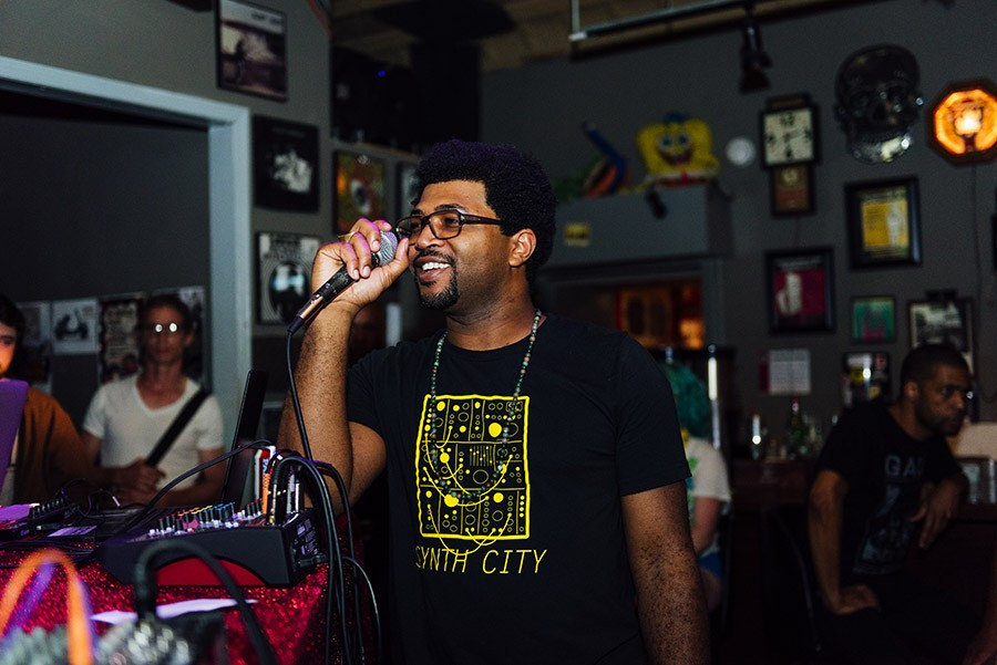 Open Beats founder and cohost Fess Grandiose introduces a beat maker. - ALLISON ZIEMBA FOR CHICAGO READER