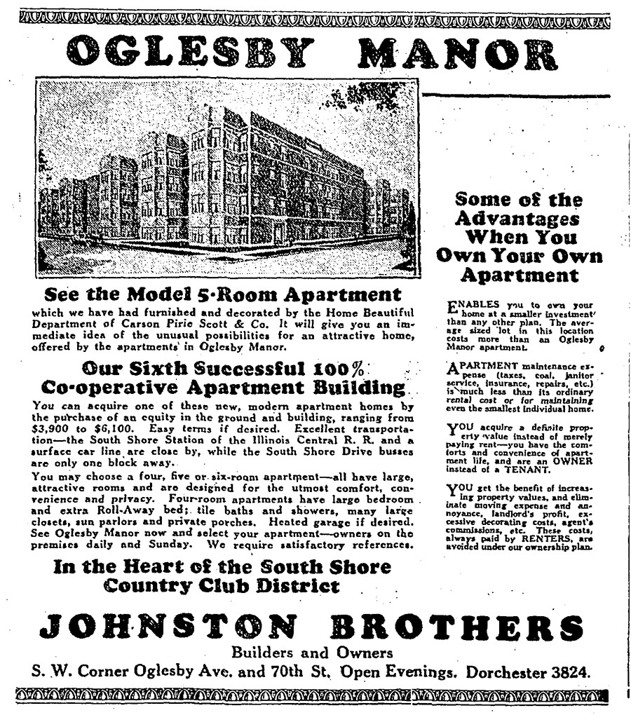 Ads for the newly constructed co-op ran in the Tribune in the summer and fall of 1925.