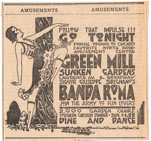 """A 1917 ad for the Green Mill. Committee of Fifteen investigators found the dancing at the club to be """"highly suggestive,"""" noting """"many women were smoking."""" - UPTOWNHISTORY.COMPASSROSE.ORG"""