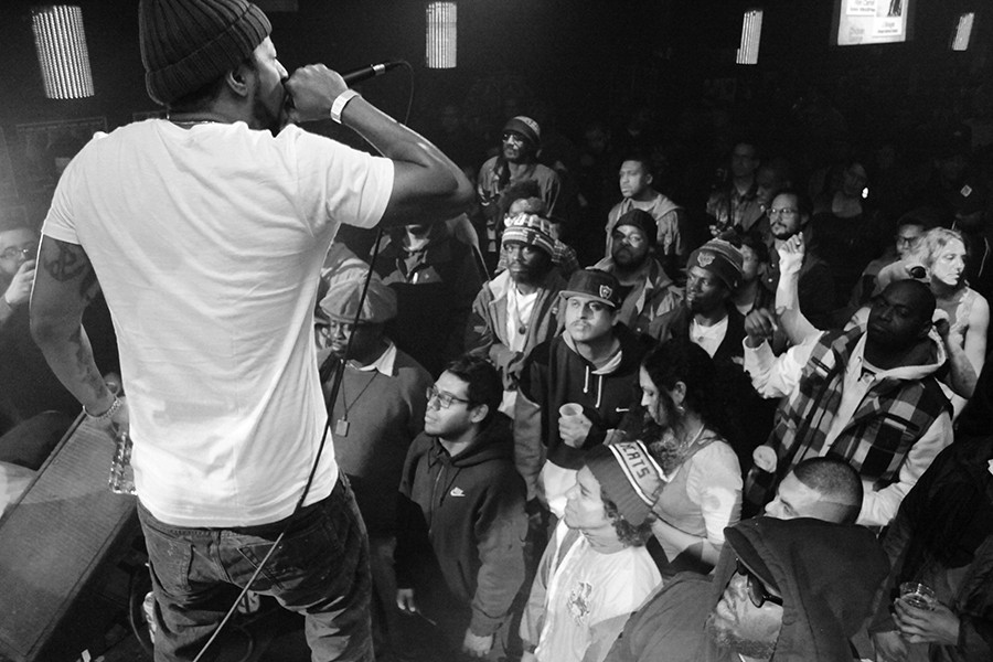 New York rapper Roc Marciano performs at Blue Groove's 20th-anniversary reunion at Double Door in 2014. - TONY MARTIN