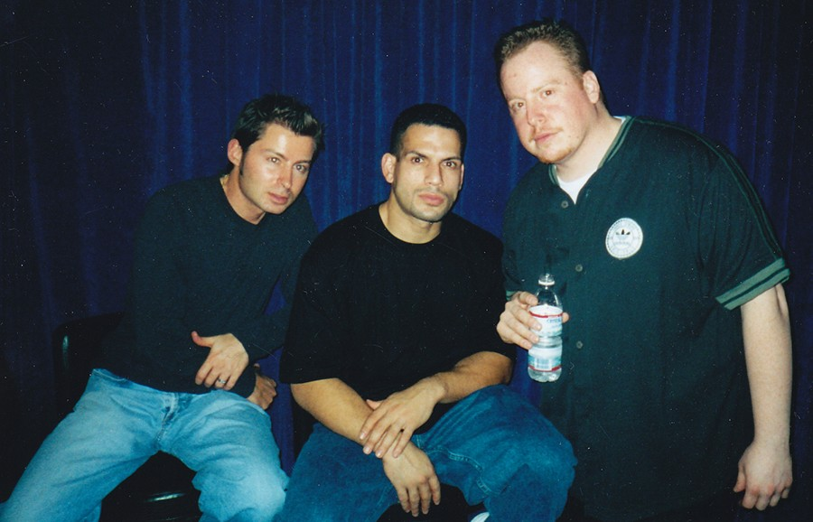 """Pumpin' Pete, DJ Nonstop, and Jesse de la Peña at Blue Groove in 2003, during its brief stint at the Blue Note - """"BIG LARRY"""" MONDRAGON"""