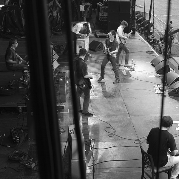 Disappears (with Steve Shelley on drums) and White/Light perform together at Lollapalooza in 2012—of the seven people involved in their new collaborative release, only founding Disappears drummer Graeme Gibson is absent. - KATE O'NEILL
