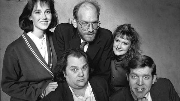 Jill Talley, Mark Beltzman, Ron West, Ruth Rudnick, and Michael McCarthy in 1990's Ameri-Go-Round. - COURTESY THE SECOND CITY