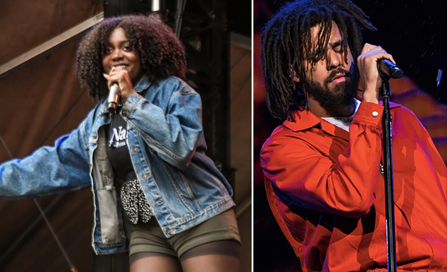 Noname onstage at Lollapalooza in 2017; J. Cole in 2018 - PHOTOS BY BOBBY TALAMINE AND KEE1992/CC 4.0