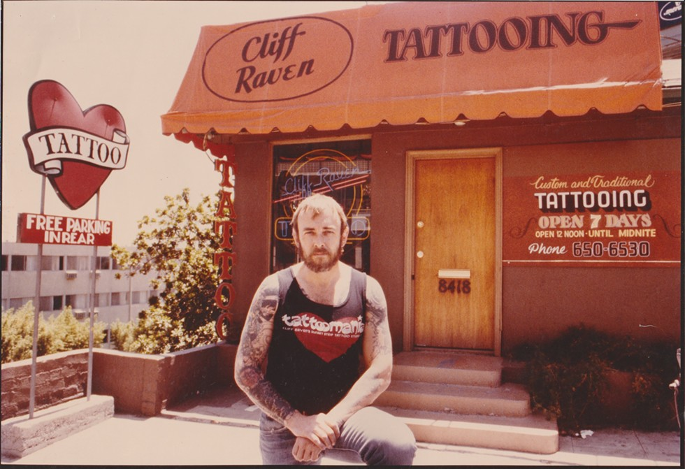 Cliff Raven outside Sunset Strip Tattoo shortly after buying it from Lyle Tuttle— there are more Raven flash, memorabilia, and photos like this at Great Lakes Tattoo. - COURTESY NICK COLELLA/GREAT LAKES TATTOO