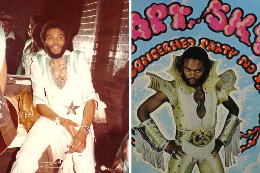Captain Sky in his dressing room at the International Amphitheatre during the 1979 WVON Christmas show (left) and on the cover of the1980 album Concerned Party #1 - PHOTO COURTESY DARYL CAMERON